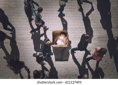 Girl in carton box