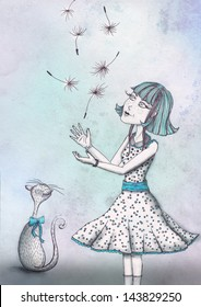 A girl, a cat and the dandelion seeds