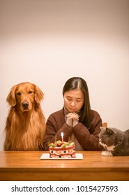 The girl with a cat and a dog for her birthday