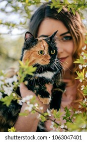 Girl and cat. Spring or summer warm weather concept. Bokeh background. Ginger kitten with two face color mask.