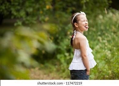 Girl catches language rain