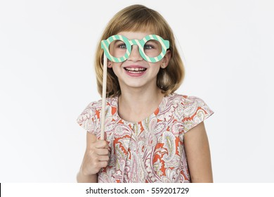 Girl Cheerful Studio Portrait Concept
