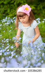 a girl child about flax flowers