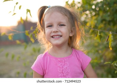 Girl child on outdoor, baby three years of age