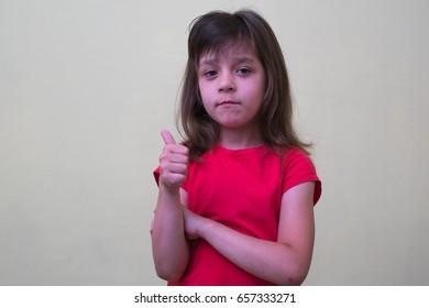 Girl child Thumb up