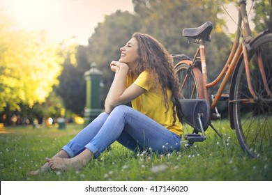 Girl chilling in the park