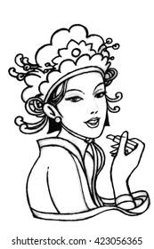 a girl in Chinese costume