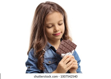 Girl with a chocolate bar isolated on white background