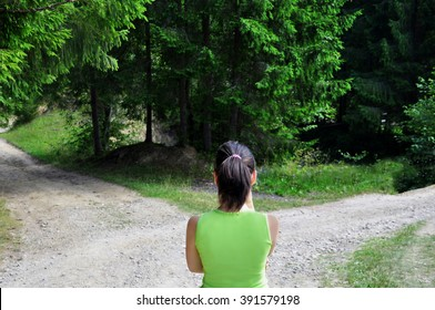 Girl with a choice near the forked road