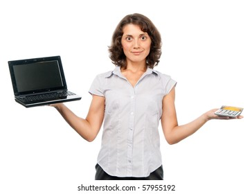 Girl chooses between a laptop and a calculator