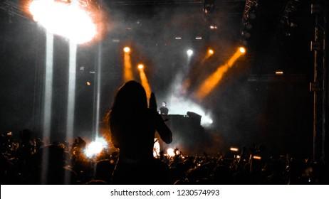 girl clapping in Indian music festival , sunburn