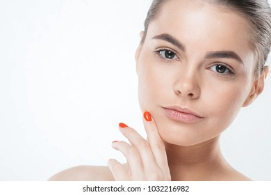 Girl with clean healthy skin face close up isolated on white. Female beautiful beauty portrait of young pretty woman