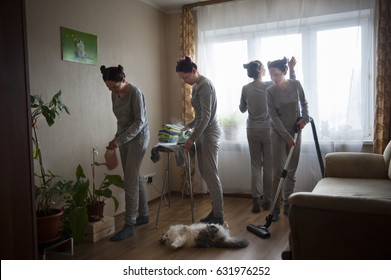 Girl is cleaning in the apartment