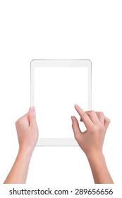 Girl clicks a finger on a white plate