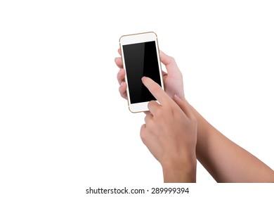 Girl clicks gold phone screen