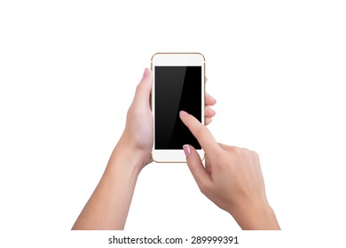 Girl clicks on the screen of gold phone