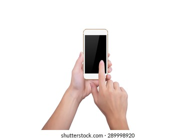 Girl clicks the screen of gold phone