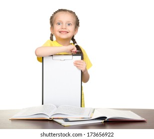 girl with clipboard and books on white