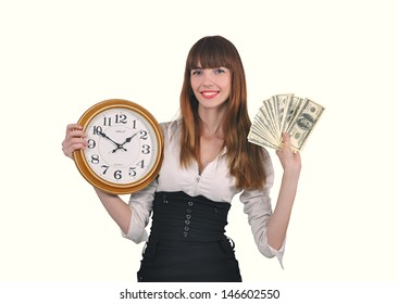 girl with clock and money in hand