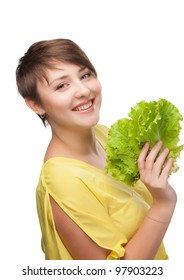 The girl is closed by salad sheet on a white background