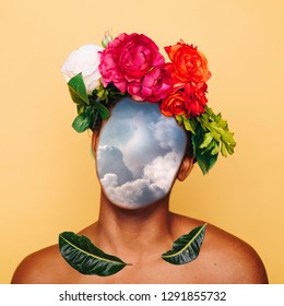 Girl with clouds instead of a face and a crown of flowers. Contemporary art collage. Abstract surrealism and minimalism
