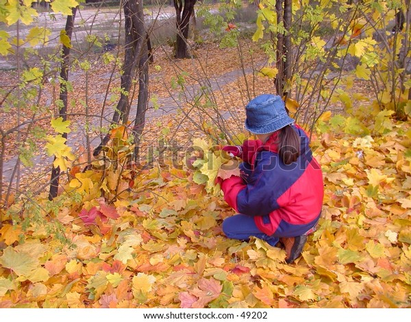 A girl collecting leaves in the park