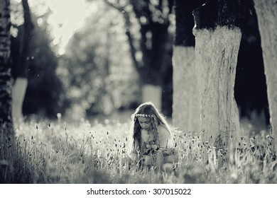 girl collects flowers childhood