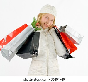 a girl with colored bags