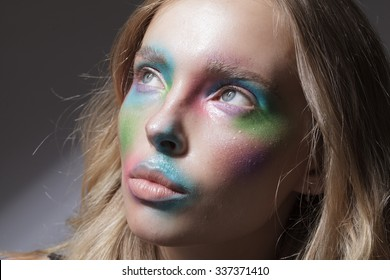 girl with colorful make up