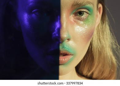 girl with colorized face
