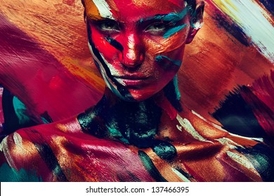 girl in colourful paint