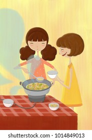 Girl cooking illustration