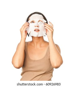 Girl in a cosmetic mask