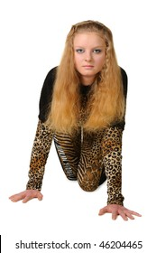The girl costing on hands and knee. In clothes animal theme. It is isolated on a white background
