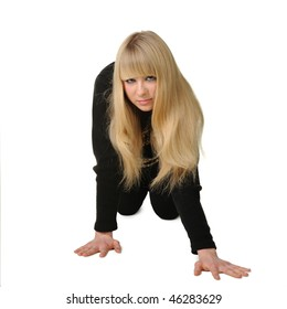 The girl costing on hands and knee. It is isolated on a white background
