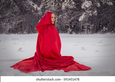 Girl in costume Little Red Riding Hood with dog like a wolf and a basket with apples and pies in the winter in the woods in the snow