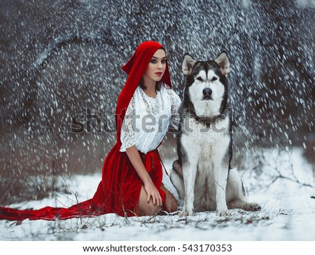 cb0707fb29 Girl in costume Little Red Riding Hood with dog like a wolf. She sits with
