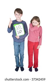 A girl coughs or sneezes into her elbow, and a boy makes a thumbs up sign - its one of the ways to prevent the spread of swine flu. He is holding a tablet on which is written a score of 10 out of 10.