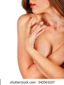 Girl cover beautiful nude topless breasts and lips.