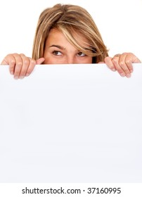 Girl covering her face with a banner isolated