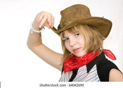 girl in a cowboy hat isolated on white background