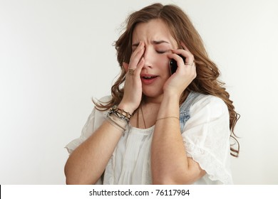 girl crying on the phone