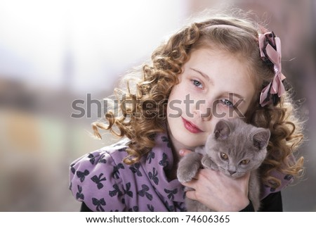 Girl Curly Hair Kitten Stock Photo Edit Now 74606365 Shutterstock