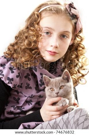 Girl Curly Hair Kitten Stock Photo Edit Now 74676832 Shutterstock