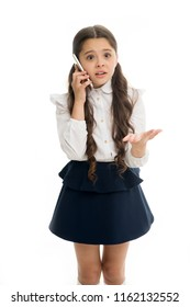 Girl cute long hair talk smartphone white background. Child desperate helpless face expression speak smartphone. Communication with parent important part educational process. Explain her mistake.