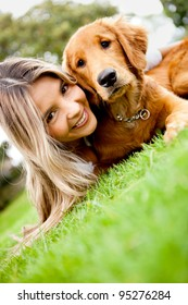 Girl with a cute puppy dog outdoors