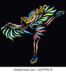 Girl dancing on ice, skates and wings
