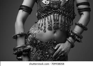 Girl dancing oriental dance (fragment)