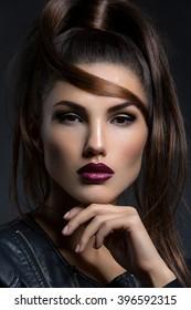 Girl with dark lips
