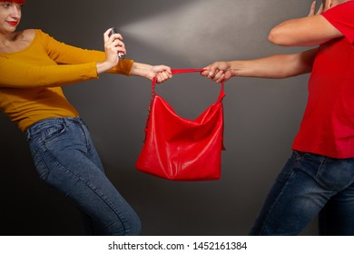 a girl defending pepper spray from a robber who is trying to take away her bag